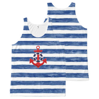 Nautical Sailing inspired All-Over Print Singlet