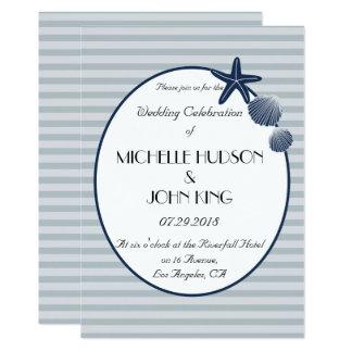 Nautical Sailor Beach Striped Wedding Invitation