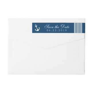 Nautical Save the Date | Navy Return Address Wrap Around Label