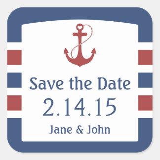 Nautical Save the Date Square Sticker