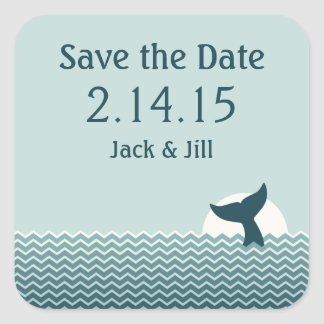 Nautical Save the Date Square Sticker