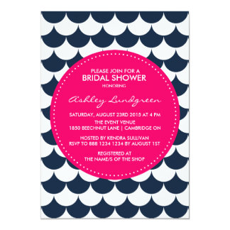Nautical Scallop Pattern Bridal Shower Invitation