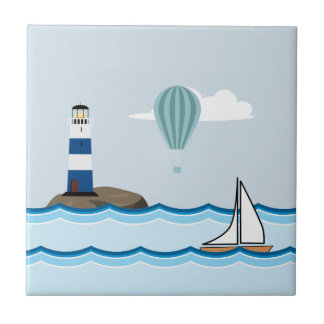 Nautical Scene with Lighthouse and Sailboat Tile