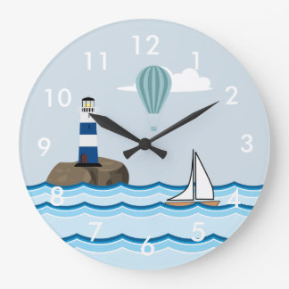 Nautical Scene with Lighthouse and Sailboat Wallclocks