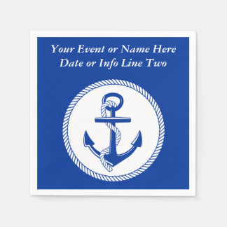 Nautical Sea Blue Boat Anchor Roping Custom #2 Paper Serviettes
