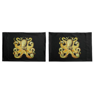 Nautical sea Octopus decor pillow cases gold