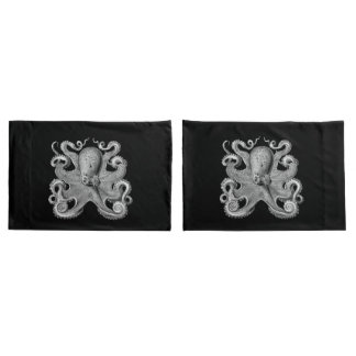 Nautical sea Octopus decor pillow cases grey