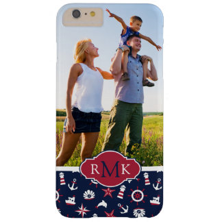 Nautical Sea Pattern| Your Photo & Monogram Barely There iPhone 6 Plus Case