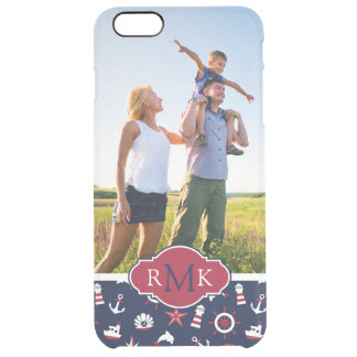 Nautical Sea Pattern| Your Photo & Monogram Clear iPhone 6 Plus Case