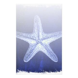nautical sea shells beach blue starfish personalised stationery