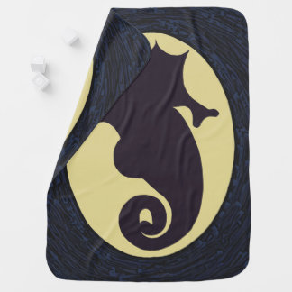 Nautical Seahorse Cameo Baby Blanket