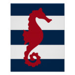 Nautical seahorse print red, navy and white