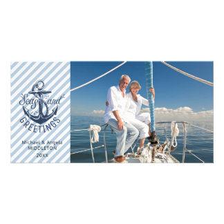 "Nautical ""Seas AND Greetings"" - Navy Anchor Card"