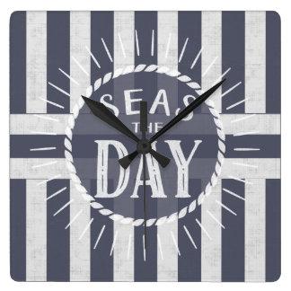 Nautical Seas the Day Carpe Diem Theme Striped Wall Clocks