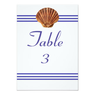 Nautical Seashell - 5x7 Table Number 13 Cm X 18 Cm Invitation Card