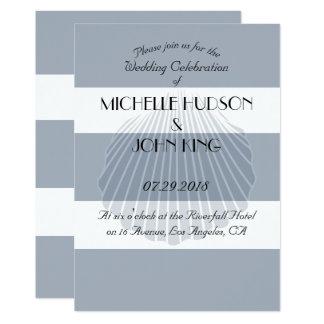 Nautical Seashell Beach Stripe Wedding Invitations