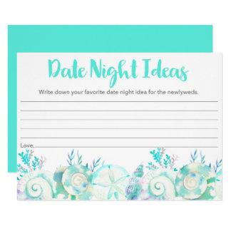 Nautical Seashell Bridal Date Night Ideas Card