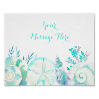 Nautical Seashell Bridal Shower Welcome Sign Poster