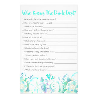 Nautical Seashell Who Knows The Bride Game 14 Cm X 21.5 Cm Flyer