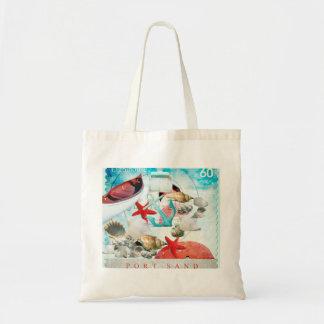 Nautical Seashells Anchor Starfish Beach Theme Canvas Bag