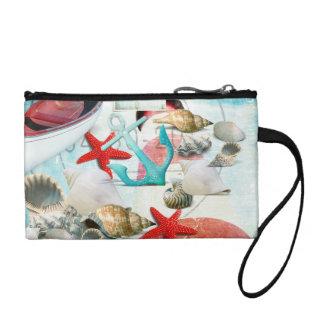 Nautical Seashells Anchor Starfish Beach Theme Coin Wallets