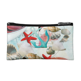 Nautical Seashells Anchor Starfish Beach Theme Makeup Bag