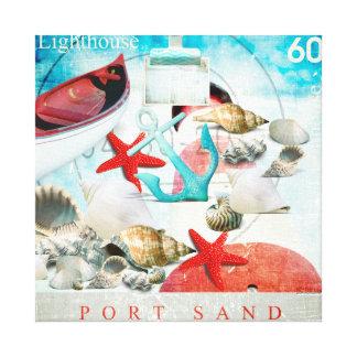 Nautical Seashells Anchor Starfish Beach Theme Canvas Print