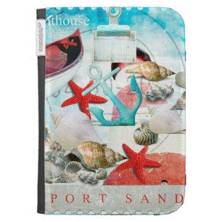 Nautical Seashells Anchor Starfish Beach Theme Kindle 3 Cases