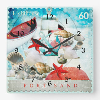 Nautical Seashells Anchor Starfish Beach Theme Clocks