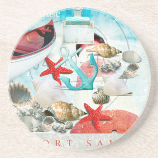 Nautical Seashells Anchor Starfish Beach Theme Coaster
