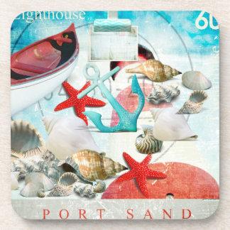 Nautical Seashells Anchor Starfish Beach Theme Drink Coasters