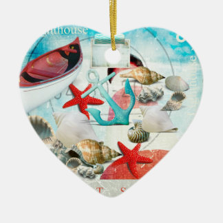 Nautical Seashells Anchor Starfish Beach Theme Christmas Ornaments