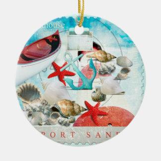 Nautical Seashells Anchor Starfish Beach Theme Christmas Tree Ornament