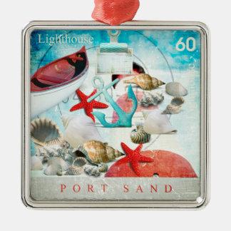 Nautical Seashells Anchor Starfish Beach Theme Christmas Ornament
