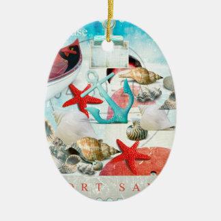 Nautical Seashells Anchor Starfish Beach Theme Christmas Tree Ornaments