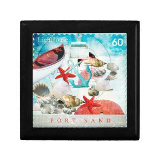 Nautical Seashells Anchor Starfish Beach Theme Trinket Boxes