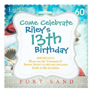 Nautical Seashells Anchor Starfish Beach Theme 5.25x5.25 Square Paper Invitation Card