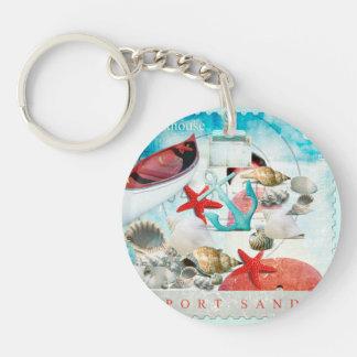 Nautical Seashells Anchor Starfish Beach Theme Keychain