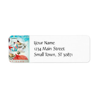 Nautical Seashells Anchor Starfish Beach Theme Return Address Label