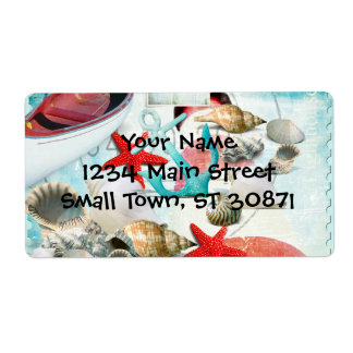 Nautical Seashells Anchor Starfish Beach Theme Shipping Label