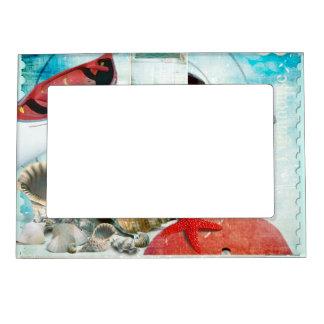 Nautical Seashells Anchor Starfish Beach Theme Magnetic Frames