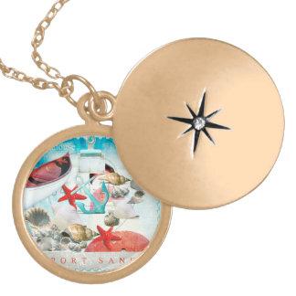 Nautical Seashells Anchor Starfish Beach Theme Personalized Necklace