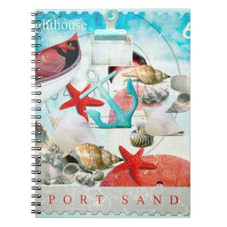 Nautical Seashells Anchor Starfish Beach Theme Notebooks