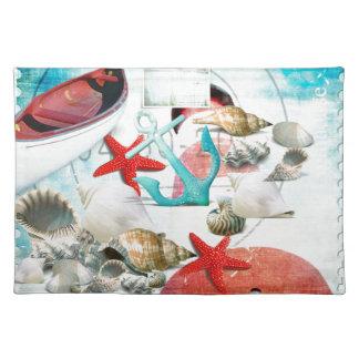 Nautical Seashells Anchor Starfish Beach Theme Place Mat
