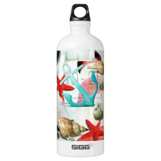 Nautical Seashells Anchor Starfish Beach Theme SIGG Traveler 1.0L Water Bottle
