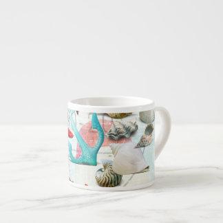 Nautical Seashells Anchor Starfish Beach Theme Espresso Cups