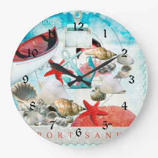 Nautical Seashells Anchor Starfish Beach Theme Wallclock