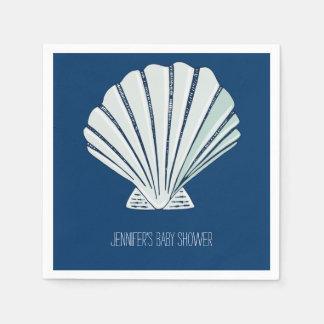 Nautical Seaside Shell Disposable Serviette