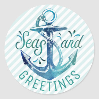 "Nautical ""SEAson's Greetings,"" Aqua Stripes Classic Round Sticker"