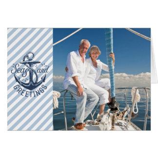 Nautical SEAson's Greetings, Navy Anchor & Stripes Card